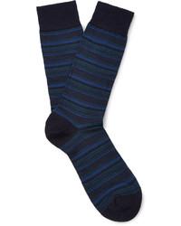 dunkelblaue horizontal gestreifte Wollsocken von Pantherella