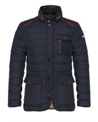 dunkelblaue Jacke mit einer Kentkragen und Knöpfen von Carl Gross