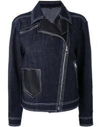 dunkelblaue Jeans Bikerjacke von Versace