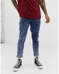 dunkelblaue Jeans mit Acid-Waschung von ASOS DESIGN