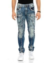 dunkelblaue Jeans mit Acid-Waschung von Cipo & Baxx