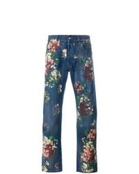dunkelblaue Jeans mit Blumenmuster von Gucci