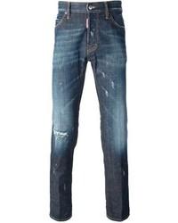 dunkelblaue Jeans mit Destroyed-Effekten