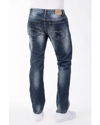 dunkelblaue Jeans mit Destroyed-Effekten von BLUE MONKEY