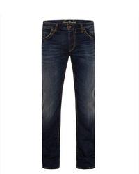 dunkelblaue Jeans mit Destroyed-Effekten von Camp David