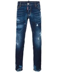 dunkelblaue Jeans mit Destroyed-Effekten von DSQUARED2