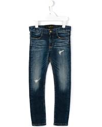 dunkelblaue Jeans mit Destroyed-Effekten von Finger In The Nose