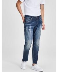 dunkelblaue Jeans mit Destroyed-Effekten von Jack & Jones