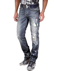 dunkelblaue Jeans mit Destroyed-Effekten von KINGZ