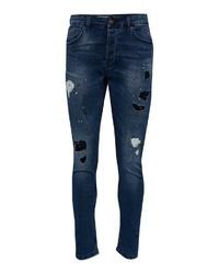 dunkelblaue Jeans mit Destroyed-Effekten von ONLY & SONS