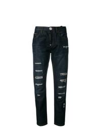 dunkelblaue Jeans mit Destroyed-Effekten von Philipp Plein
