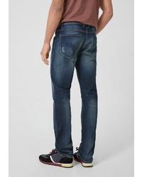 dunkelblaue Jeans mit Destroyed-Effekten von Q/S designed by