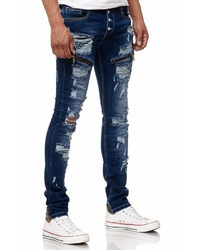 dunkelblaue Jeans mit Destroyed-Effekten von RUSTY NEAL