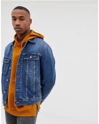 dunkelblaue Jeansjacke von ASOS DESIGN