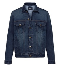 dunkelblaue Jeansjacke von MEN PLUS BY HAPPY SIZE
