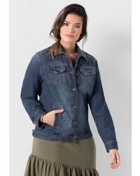 dunkelblaue Jeansjacke von SHEEGO DENIM