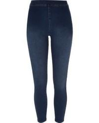 dunkelblaue Jeansleggings