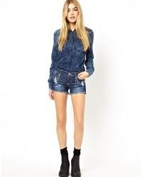 dunkelblaue Jeansshorts von Only