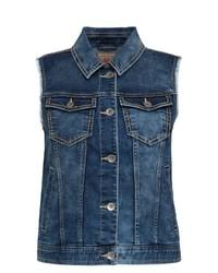 dunkelblaue Jeansweste von SOCCX