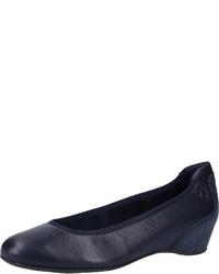 dunkelblaue Keilpumps aus Leder von Tamaris