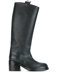 dunkelblaue kniehohe Stiefel aus Leder