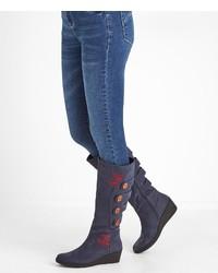 dunkelblaue kniehohe Stiefel aus Leder von Joe Browns