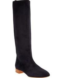 dunkelblaue kniehohe Stiefel aus Wildleder