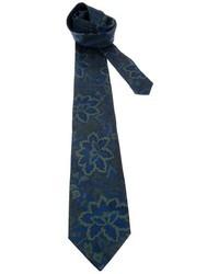 dunkelblaue Krawatte mit Blumenmuster von Fendi