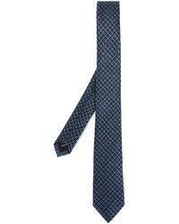 dunkelblaue Krawatte mit Hahnentritt-Muster von Z Zegna