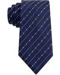 dunkelblaue Krawatte mit Karomuster