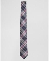 dunkelblaue Krawatte mit Karomuster von Selected