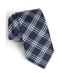 dunkelblaue Krawatte mit Schottenmuster