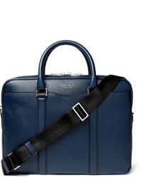 dunkelblaue Leder Aktentasche von Hugo Boss
