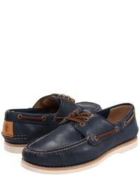 dunkelblaue Leder Bootsschuhe