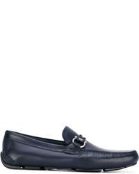 dunkelblaue Leder Bootsschuhe von Salvatore Ferragamo