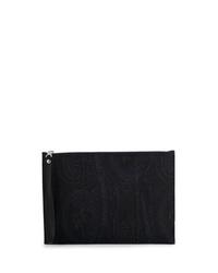 dunkelblaue Leder Clutch Handtasche mit Paisley-Muster von Etro