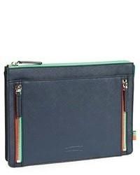 dunkelblaue Leder Clutch Handtasche