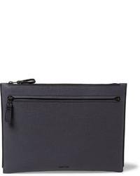 dunkelblaue Leder Clutch Handtasche von Lanvin