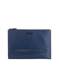 dunkelblaue Leder Clutch Handtasche von Salvatore Ferragamo