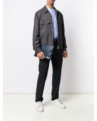 dunkelblaue Leder Clutch Handtasche von Ermenegildo Zegna