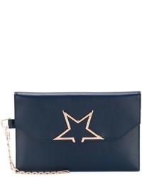 dunkelblaue Leder Clutch mit Sternenmuster von Golden Goose Deluxe Brand