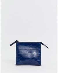 dunkelblaue Leder Clutch von French Connection