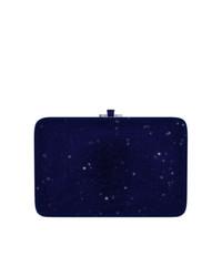 dunkelblaue Leder Clutch von Judith Leiber Couture