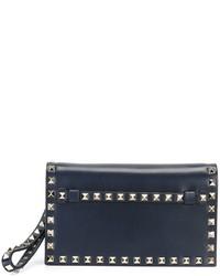 dunkelblaue Leder Clutch von Valentino Garavani