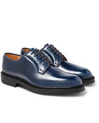 dunkelblaue Leder Derby Schuhe