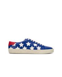 dunkelblaue Leder niedrige Sneakers mit Sternenmuster von Saint Laurent