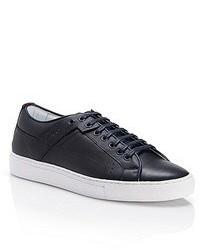 dunkelblaue Leder niedrige Sneakers