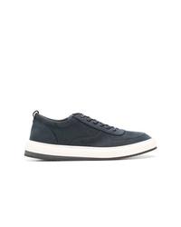 dunkelblaue Leder niedrige Sneakers von Corneliani