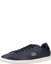dunkelblaue Leder niedrige Sneakers von Lacoste