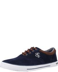 dunkelblaue Leder niedrige Sneakers von Tom Tailor